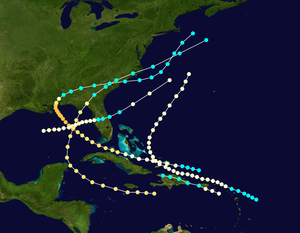 1852 Atlantic hurricane season - Image: 1852 Atlantic hurricane season summary map