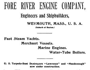 Fore River Shipyard - 1899 advertisement for the Fore River Shipyard
