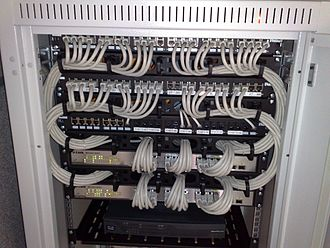 Network switch - A couple of managed D-Link Gigabit Ethernet rackmount switches, connected to the Ethernet ports on a few patch panels using Category 6 patch cables (all equipment is installed in a standard 19-inch rack)
