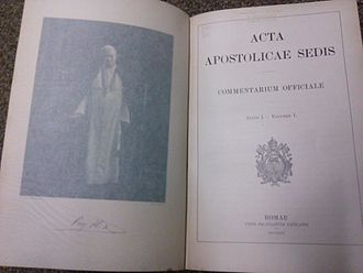 Acta Apostolicae Sedis - Cover page and leaf of Vol. 1, No. 1 of the Acta Apostolicae Sedis (1909)