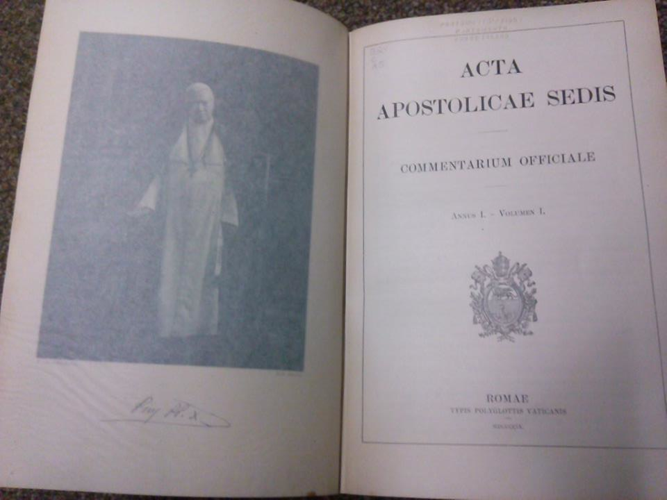1909 Acta Apostolicae Sedis