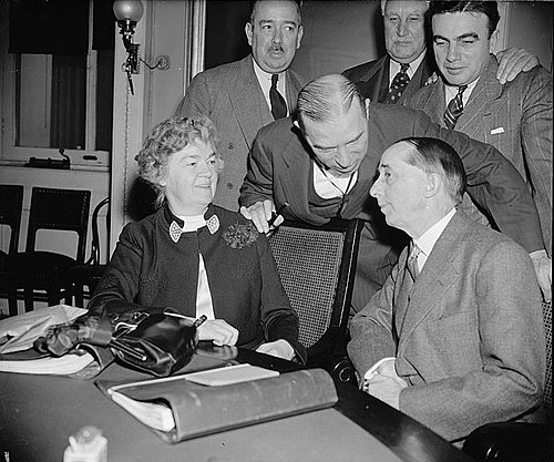 Claude Bowers, right, is pictured with Rep. Sol Bloom. chairman of the Committee, and Rep. Edith Nourse Rogers, Republican of Massachusetts