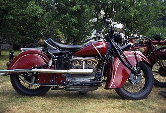 Chopper (motorcycle) - The heavily valanced fenders of the 1940 Indian 440 four.