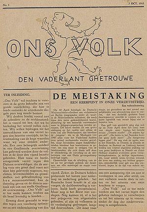 Dutch underground press - Ons Volk from October 1943
