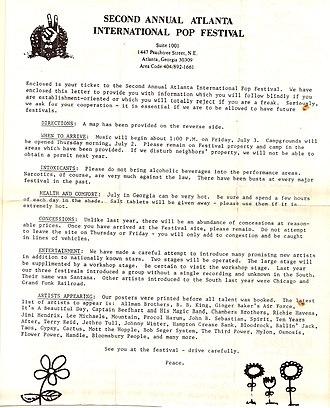Atlanta International Pop Festival (1970) - Letter to advance ticket-buyers