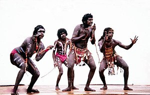 Australian Aboriginal fibrecraft - Aboriginal dancers wearing a more modern version of this covering, performing at Nambassa in New Zealand- 1981
