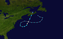 Storm track beginning southeast of Canada as an extratropical storm, moving westward toward New England, becoming tropical as it looped to the northeast, and later dissipating over Prince Edward Island