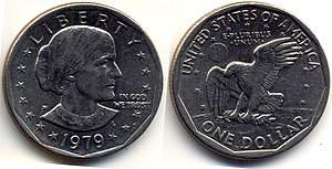Dollar coin (United States) - The Anthony clad dollar, 1979.