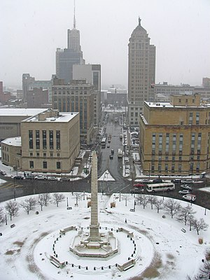 Buffalo City Hall - View of Niagara Square in the foreground and Lafayette Square in the background from Buffalo City Hall during a snow flurry