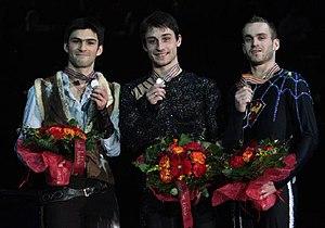 Kevin van der Perren - Van der Perren and the other medalists at the 2009 Europeans