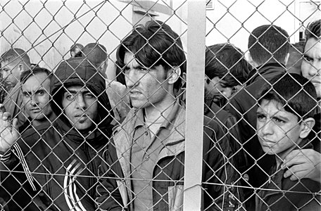 Arrested refugees immigrants in Fylakio detention center Thrace Evros Greece October 9, 2010