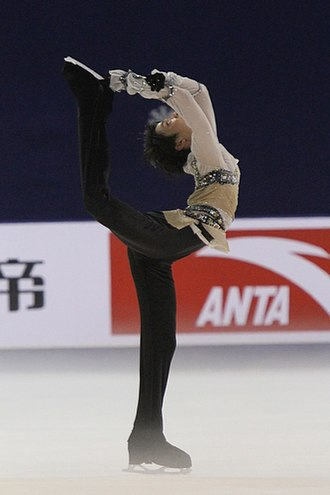 Yuzuru Hanyu - Hanyu performing a Biellmann spin at the 2011 Cup of China