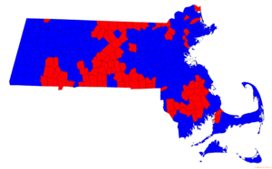 United States presidential election in Massachusetts, 2016 - Results by municipality.