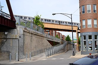 Bloomingdale Line - CTA train crossing over the trail near Milwaukee Avenue