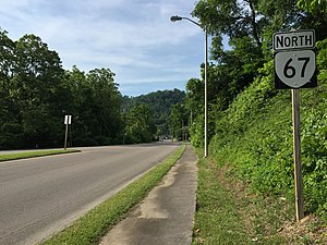 Virginia State Route 67 - View north along SR 67 in Richlands