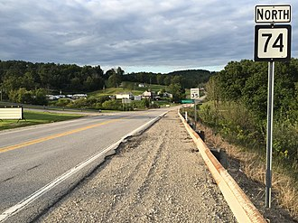 West Virginia Route 74 - View north along WV 74 at US 50 in Pennsboro