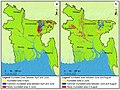 2017 Flood recession and rise areas of Bangladesh between (a) April and June, (b) June and August.jpg