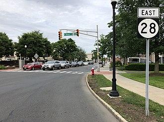 Westfield, New Jersey - Route 28 eastbound through Westfield