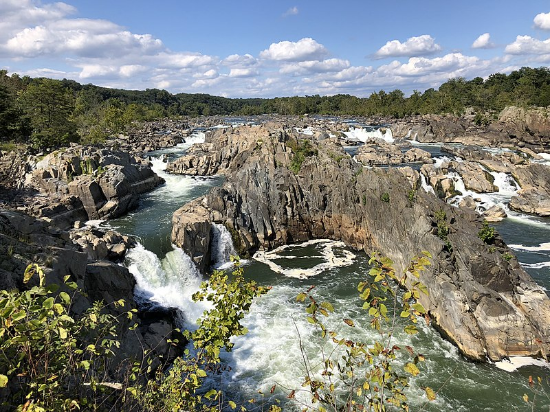 File:2019-09-07 15 12 31 View north towards the Great Falls of the Potomac River from Overlook 1 about 100 feet downstream of the falls within Great Falls Park in Great Falls, Fairfax County, Virginia.jpg