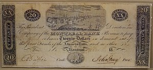 Early Canadian banking system - 20 dollar note, Bank of Montreal, 1817