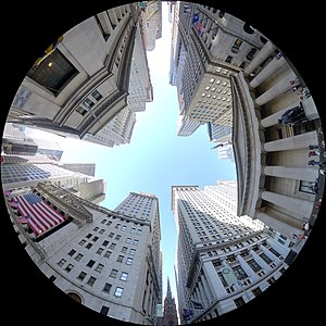 Fisheye panorama at the intersection of Wall S...