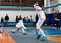 2nd Leonidas Pirgos Fencing Tournament. The fencer Asterios Tsokas attempts to score a foot touch.jpg