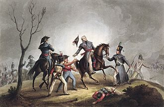 Battle of Corunna - Death of Sir John Moore at the Battle of Corunna, derived from an engraving by Thomas Sutherland and aquatint by William Heath