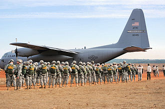 440th Operations Group - Paratroopers prepare to drop from a C-130 of the 440th Operations Group