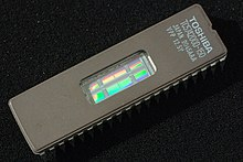4M EPROM, showing transparent window used to erase the chip 4Mbit EPROM Toshiba TC574200D (2).jpg