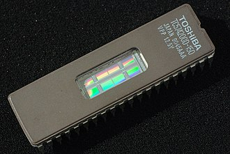 Semiconductor memory - 4M EPROM, showing transparent window used to erase the chip