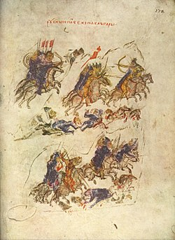 Medieval manuscript showing groups of riders, both lancers and horse-archers, fighting, and trampling over bodies