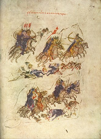 Sviatoslav's invasion of Bulgaria - Sviatoslav's invasion, from the Manasses Chronicle.