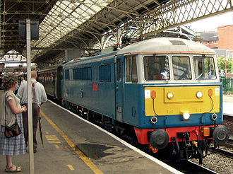 """Les Ross - British Rail Class 86 locomotive 86259 """"Les Ross"""" at Preston in 2011 with a passenger charter train which it had earlier hauled from London and was now returning from Carnforth to London Euston"""