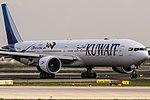 9K-AOH Kuwait Airways Boeing 777-369(ER) departing to Kuwait City (KWI) @ Frankfurt (FRA) 15.04.2018 (40587030755).jpg