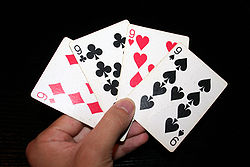 Playing Cards Showing The 9 Of All Four Suits