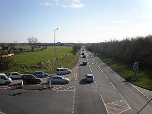 A19 road - Barlby Junction with the A63 on the former East Coast Main Line north of Selby