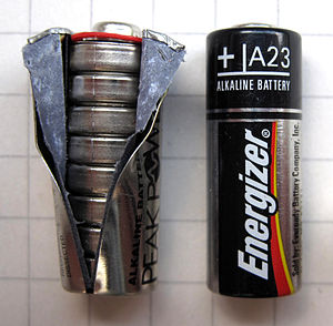A23 battery - An open A23 battery showing the LR932 cells with an intact battery.