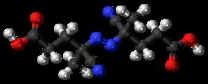 4,4'-Azobis(4-cyanopentanoic acid) - Image: ACPA molecule ball