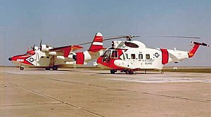 Sikorsky HH-52 Seaguard - A Coast Guard Grumman HU-16E Albatross and a Sikorsky HH-52A Seaguard in March, 1964, probably at CG Air Station Mobile