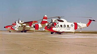 Sikorsky HH-52 Seaguard - A Coast Guard Grumman HU-16E Albatross and a Sikorsky HH-52A Seaguard in March, 1964, probably at CG Air Station Mobile