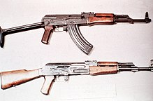 An AKMS (top) compared with a standard Soviet AK-47 (bottom).