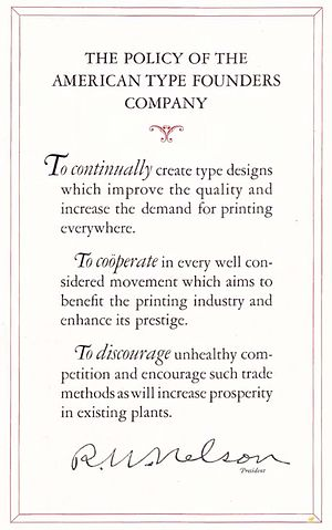 Cartel - The printing equipment company ATF explicitly states in its 1923 manual that its goal is to 'discourage unhealthy competition' in the printing industry.