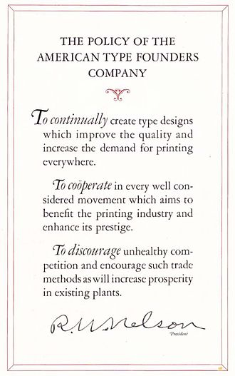 American Type Founders - ATF's 1923 specimen book explains that its goal is to 'discourage unhealthy competition' in the printing industry.