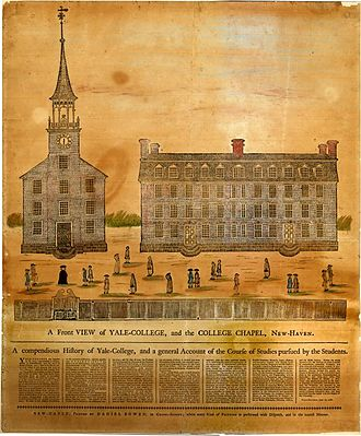 Yale University - A Front View of Yale-College and the College Chapel, Daniel Bowen, 1786.