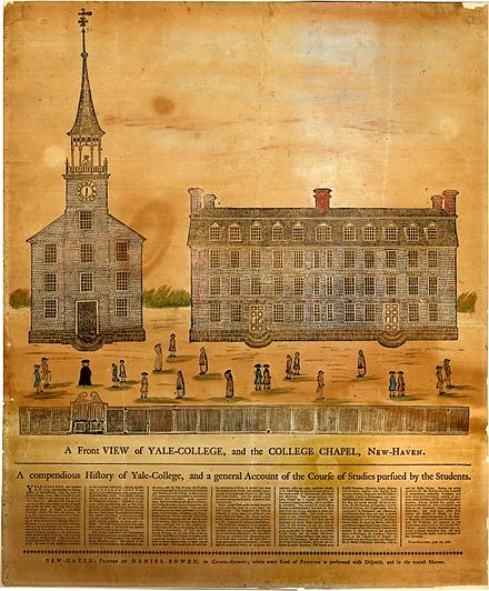 A Front View of Yale-College and the College Chapel, printed by Daniel Bowen in 1786