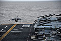 A U.S. Marine Corps AV-8B Harrier II aircraft takes off from the flight deck of the amphibious assault ship USS Bataan (LHD 5) Dec. 10, 2013, in the Atlantic Ocean 131210-N-JX484-215.jpg