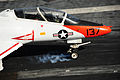 A U.S. Navy T-45C Goshawk aircraft assigned to Training Air Wing (TW) 1 lands aboard the aircraft carrier USS Theodore Roosevelt (CVN 71) in the Atlantic Ocean Dec. 10, 2013 131210-N-GN619-251.jpg