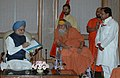 A delegation led by Swami Swaroopanand Saraswati Ji comprising of environmentalists and others meeting the Prime Minister, Dr. Manmohan Singh, under the auspices of the Ganga Seva Abhiyan, in New Delhi on October 16, 2008.jpg