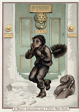 A doctor's front door, with a chimney sweep, in the snow. Wellcome L0025630