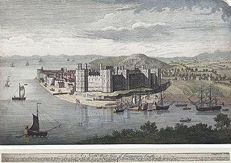 Caernarfon - A north-west view of Caernarvon Castle. 1749
